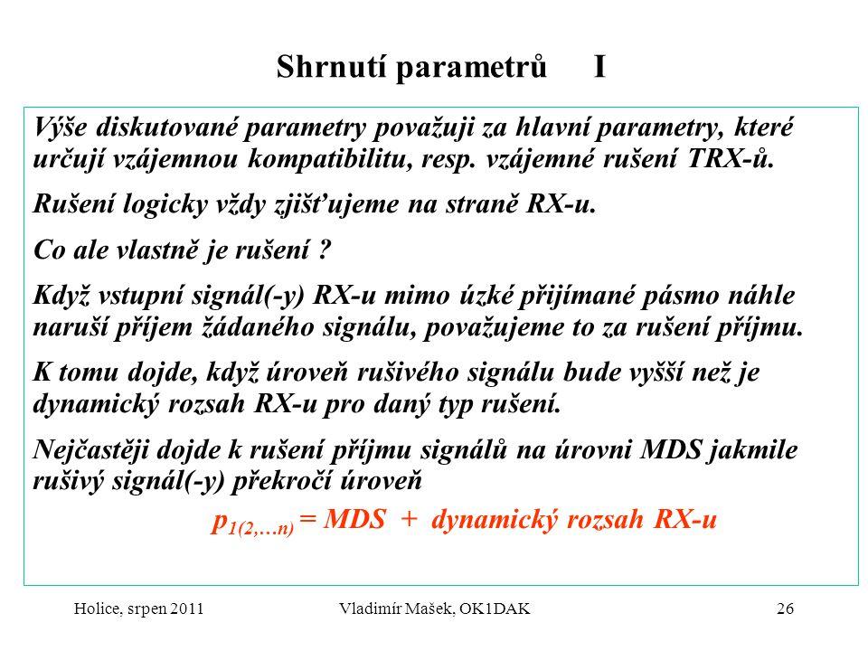 Holice, srpen 2011Vladimír Mašek, OK1DAK26 Shrnutí parametrů I Výše diskutované parametry považuji za hlavní parametry, které určují vzájemnou kompati