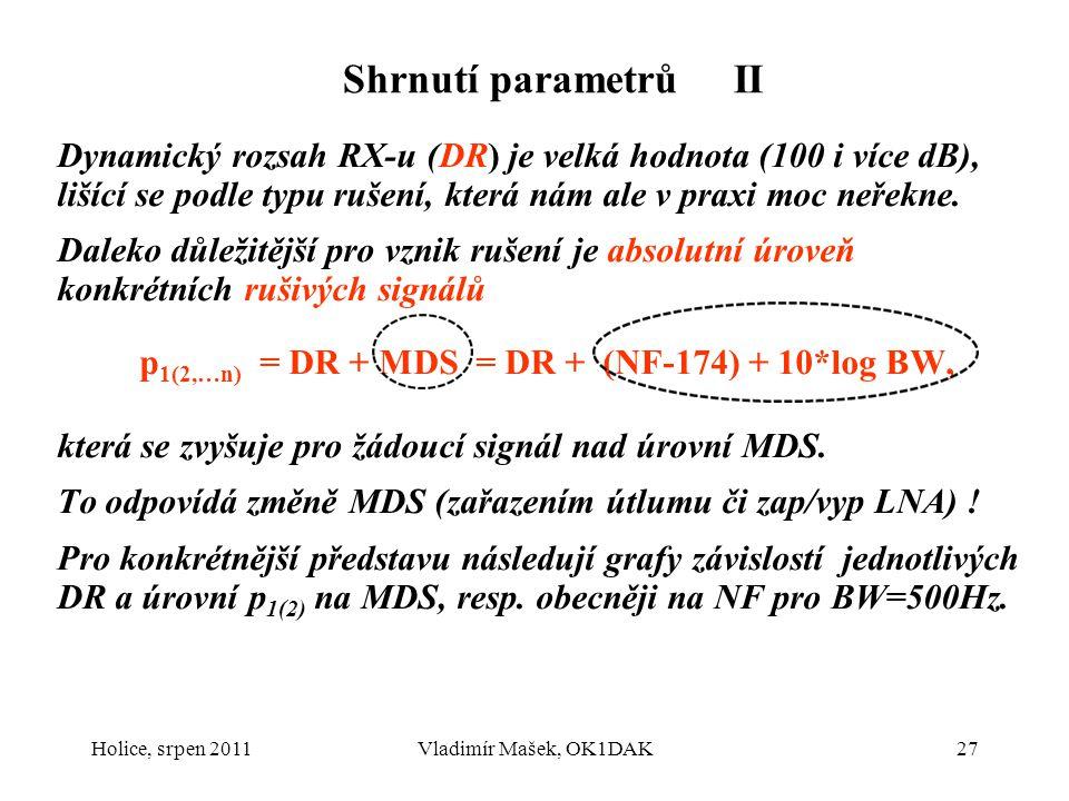 Shrnutí parametrů II Dynamický rozsah RX-u (DR) je velká hodnota (100 i více dB), lišící se podle typu rušení, která nám ale v praxi moc neřekne. Dale