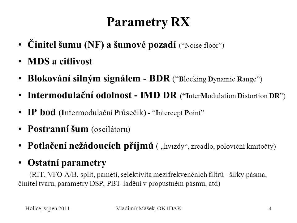 """Holice, srpen 2011Vladimír Mašek, OK1DAK4 Parametry RX Činitel šumu (NF) a šumové pozadí (""""Noise floor"""") MDS a citlivost Blokování silným signálem - B"""