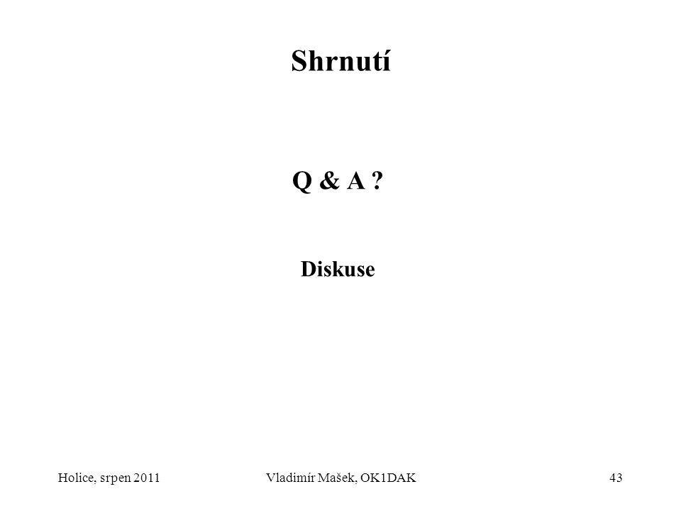 Holice, srpen 2011Vladimír Mašek, OK1DAK43 Shrnutí Q & A ? Diskuse
