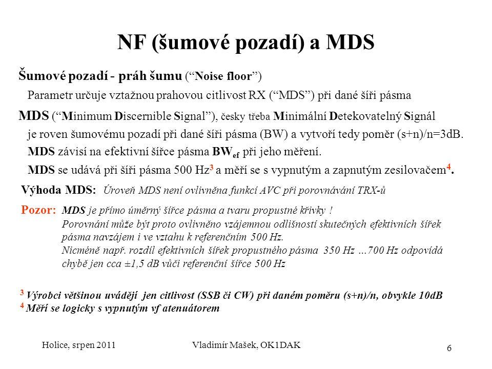 Holice, srpen 2011Vladimír Mašek, OK1DAK7 Citlivost vs MDS vs NF Citlivost SSB/CW: Úroveň signálu pro (s+n)/n=10dB (šířka pásma při CW typ.