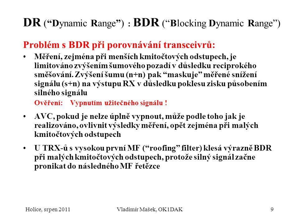 Holice, srpen 2011Vladimír Mašek, OK1DAK10 DR ( Dynamic Range ): Intermodulační DR RX-u Intermodulační odolnost - IMD DR ( InterModulation Distortion DR ), lépe např.