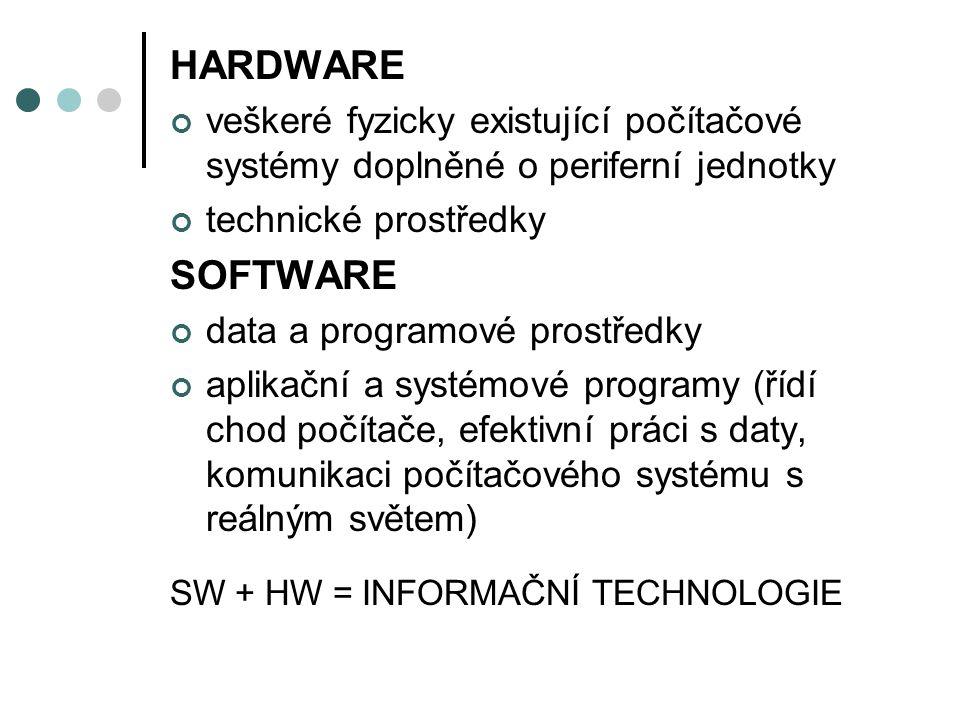 HARDWARE veškeré fyzicky existující počítačové systémy doplněné o periferní jednotky technické prostředky SOFTWARE data a programové prostředky aplikační a systémové programy (řídí chod počítače, efektivní práci s daty, komunikaci počítačového systému s reálným světem) SW + HW = INFORMAČNÍ TECHNOLOGIE