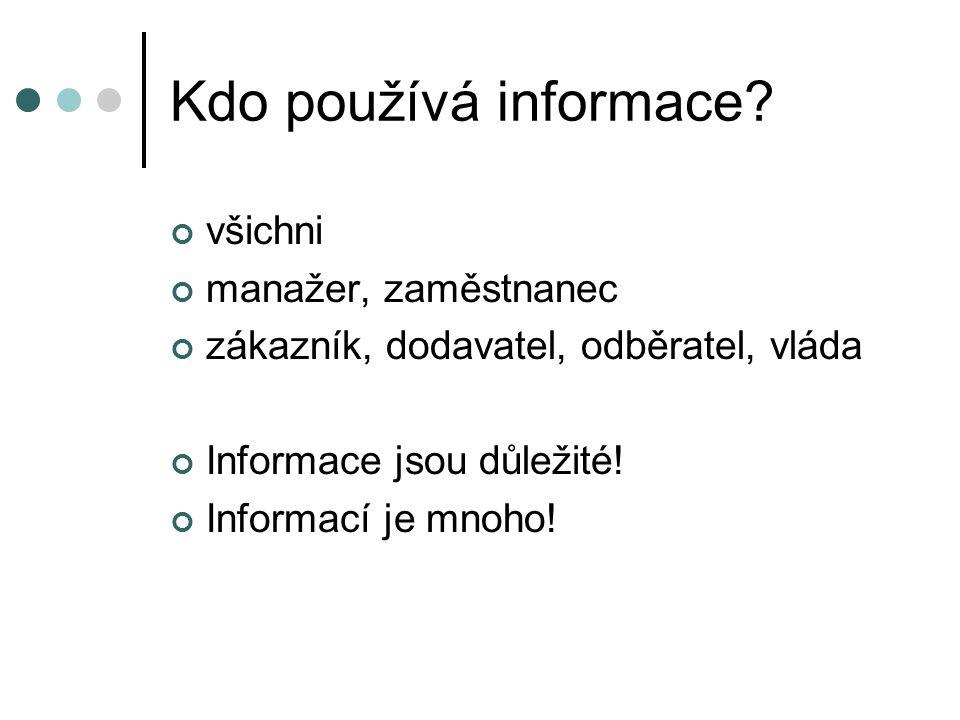 Kdo používá informace? všichni manažer, zaměstnanec zákazník, dodavatel, odběratel, vláda Informace jsou důležité! Informací je mnoho!