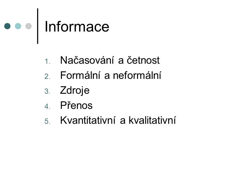 Informace 1. Načasování a četnost 2. Formální a neformální 3. Zdroje 4. Přenos 5. Kvantitativní a kvalitativní