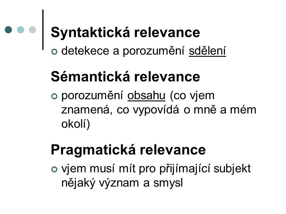 Syntaktická relevance detekece a porozumění sdělení Sémantická relevance porozumění obsahu (co vjem znamená, co vypovídá o mně a mém okolí) Pragmatická relevance vjem musí mít pro přijímající subjekt nějaký význam a smysl