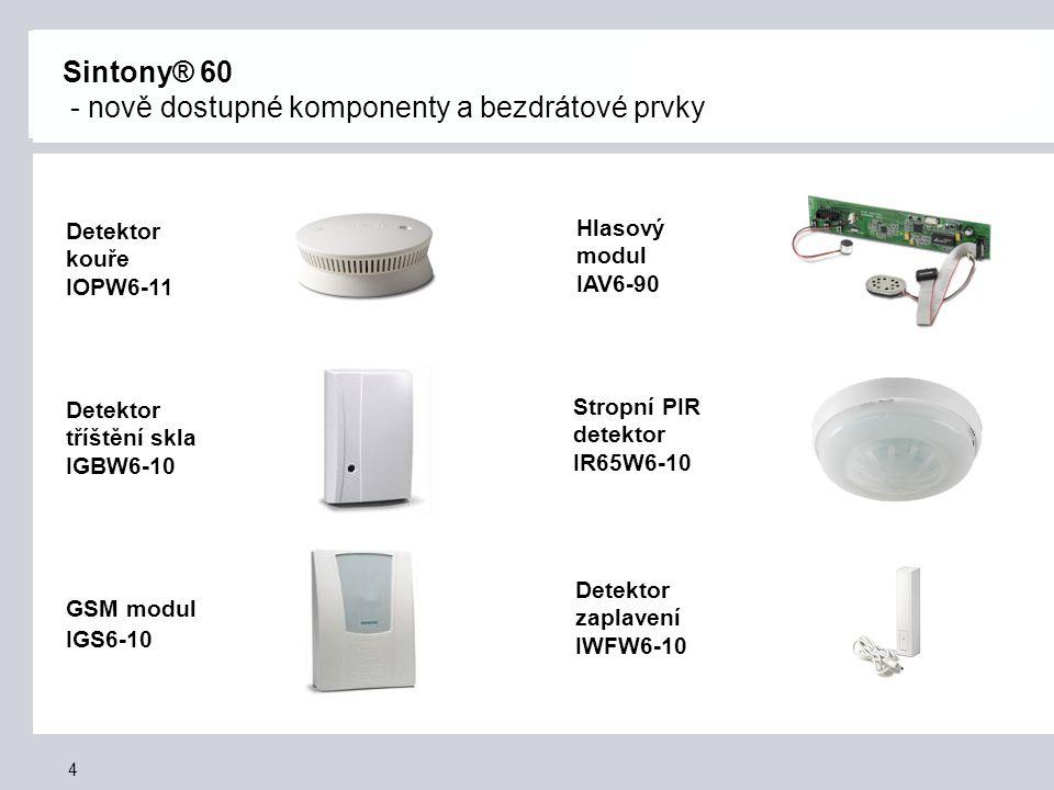 5 Sintony® 60 - bezpečnost bezdrátových prvků a přenos informací * přenos ihned 2.