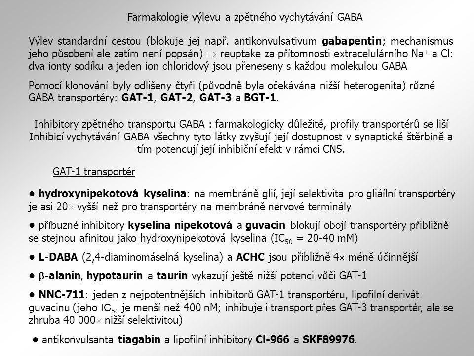 Farmakologie výlevu a zpětného vychytávání GABA Výlev standardní cestou (blokuje jej např. antikonvulsativum gabapentin; mechanismus jeho působení ale