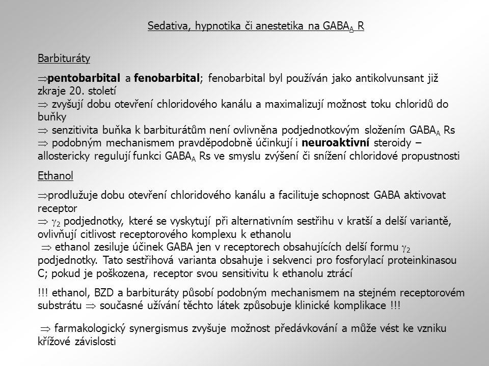 Barbituráty  pentobarbital a fenobarbital; fenobarbital byl používán jako antikolvunsant již zkraje 20. století  zvyšují dobu otevření chloridového