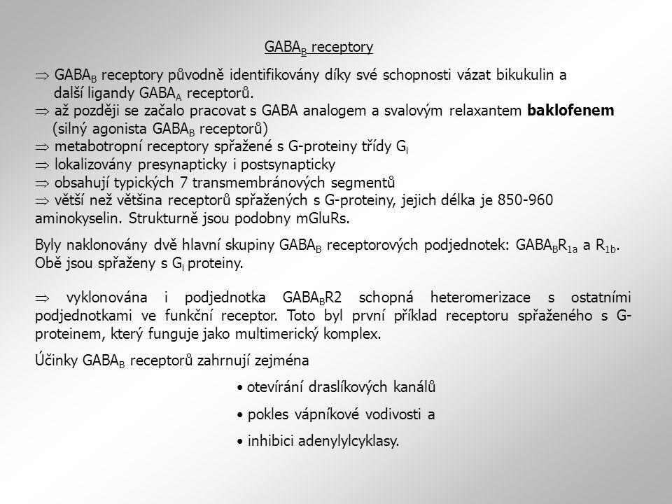  GABA B receptory původně identifikovány díky své schopnosti vázat bikukulin a další ligandy GABA A receptorů.  až později se začalo pracovat s GABA