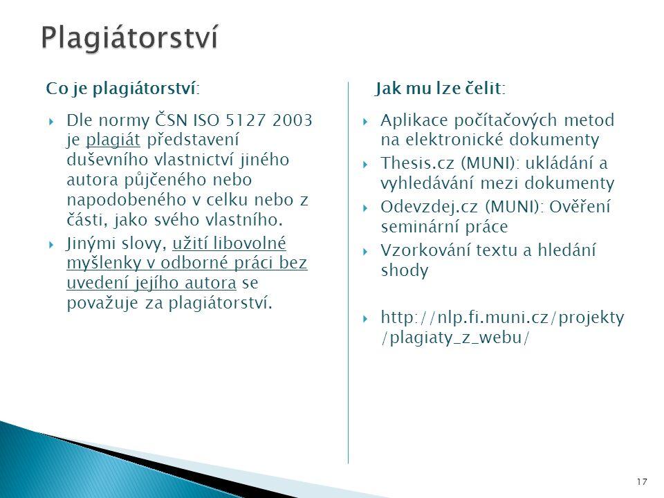  Dle normy ČSN ISO 5127 2003 je plagiát představení duševního vlastnictví jiného autora půjčeného nebo napodobeného v celku nebo z části, jako svého