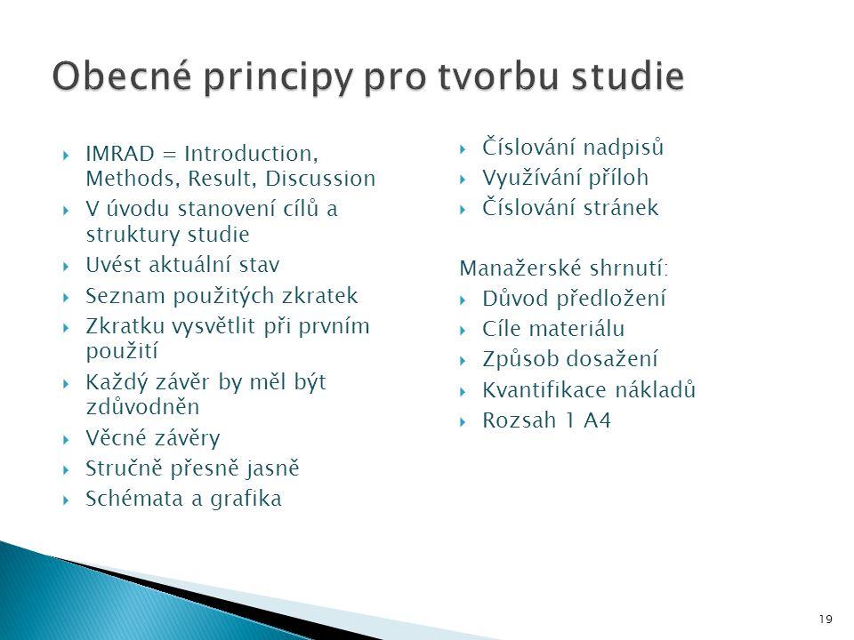  IMRAD = Introduction, Methods, Result, Discussion  V úvodu stanovení cílů a struktury studie  Uvést aktuální stav  Seznam použitých zkratek  Zkr