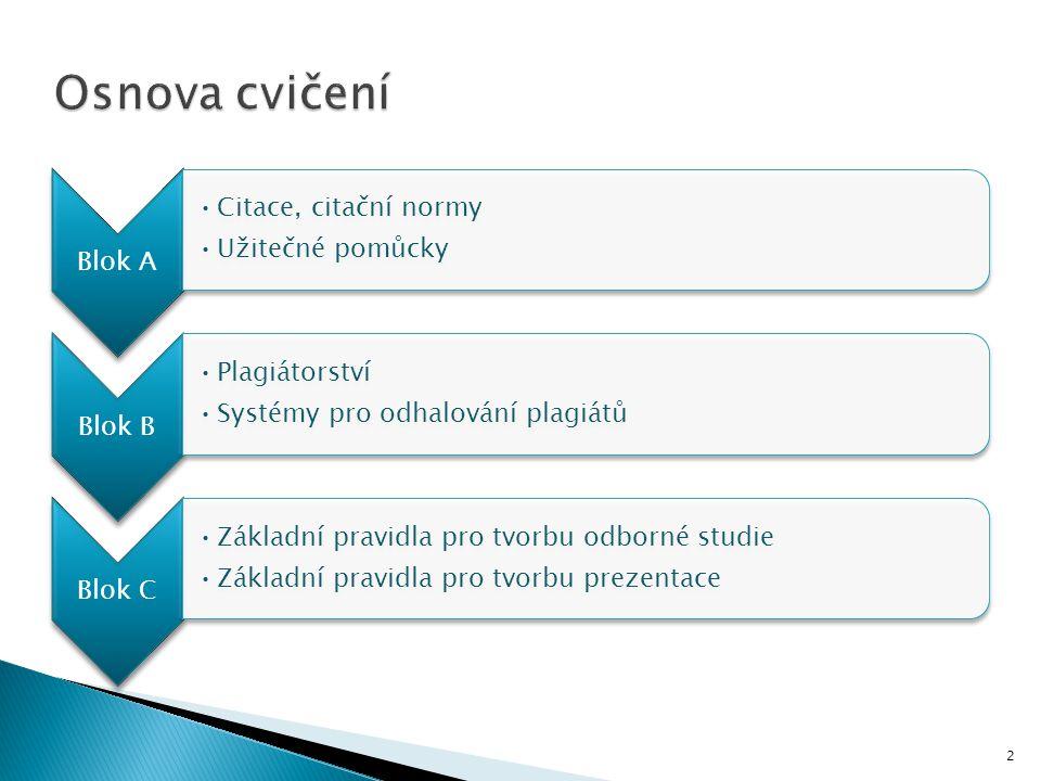 2 Blok A Citace, citační normy Užitečné pomůcky Blok B Plagiátorství Systémy pro odhalování plagiátů Blok C Základní pravidla pro tvorbu odborné studi