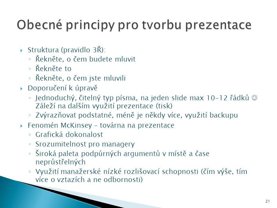  Struktura (pravidlo 3Ř): ◦ Řekněte, o čem budete mluvit ◦ Řekněte to ◦ Řekněte, o čem jste mluvili  Doporučení k úpravě ◦ Jednoduchý, čitelný typ p