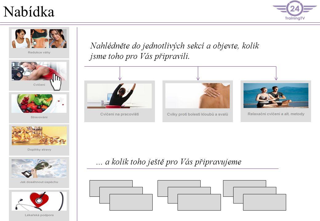 Struktura stránek Na předchozí straně jste mohli vidět obsah nabídky cvičení.