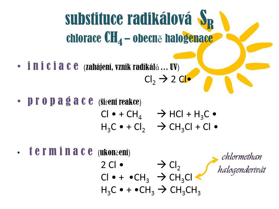 substituce radikálová S R chlorace CH 4 – obecn ě halogenace i n i c i a c e ( zahájení, vznik radikál ů … UV ) Cl 2  2 Cl p r o p a g a c e ( ší ř e