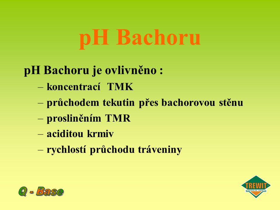 pH Bachoru pH Bachoru je ovlivněno : –koncentrací TMK –průchodem tekutin přes bachorovou stěnu –prosliněním TMR –aciditou krmiv –rychlostí průchodu tr
