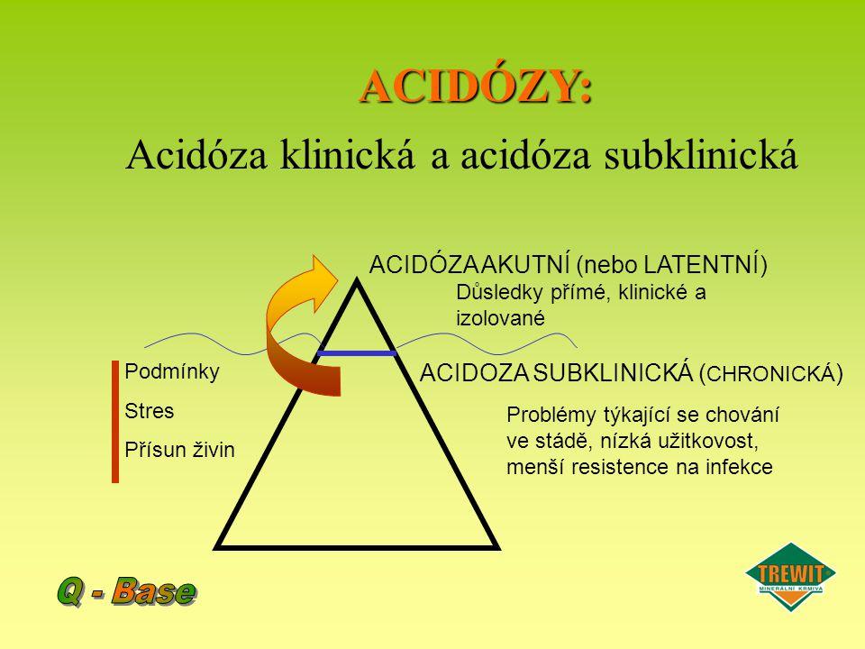 ACIDÓZY: Acidóza klinická a acidóza subklinická ACIDÓZA AKUTNÍ (nebo LATENTNÍ) ACIDOZA SUBKLINICKÁ ( CHRONICKÁ ) Podmínky Stres Přísun živin Důsledky