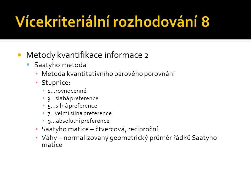  Metody kvantifikace informace 2  Saatyho metoda ▪ Metoda kvantitativního párového porovnání ▪ Stupnice: ▪ 1…rovnocenné ▪ 3…slabá preference ▪ 5…sil