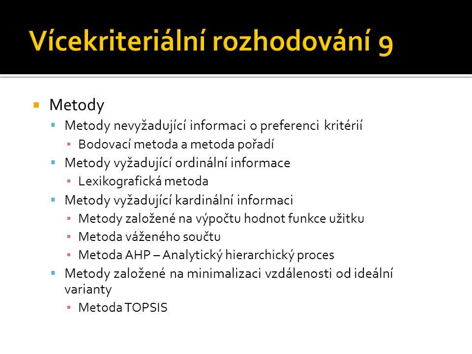  Metody  Metody nevyžadující informaci o preferenci kritérií ▪ Bodovací metoda a metoda pořadí  Metody vyžadující ordinální informace ▪ Lexikografi