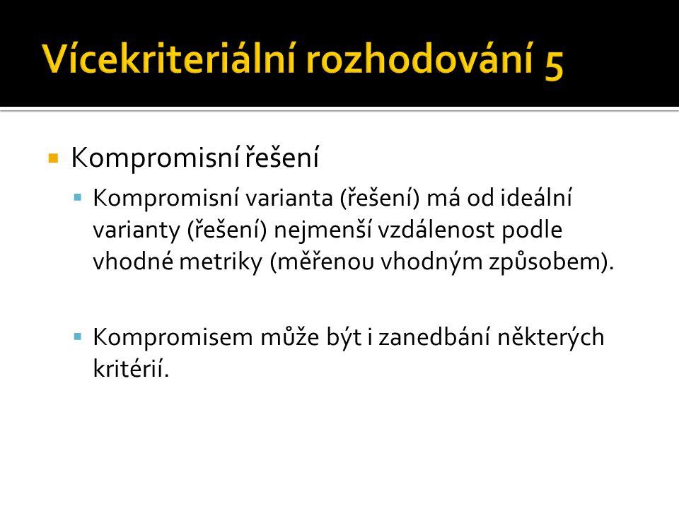  Kompromisní řešení  Kompromisní varianta (řešení) má od ideální varianty (řešení) nejmenší vzdálenost podle vhodné metriky (měřenou vhodným způsobe