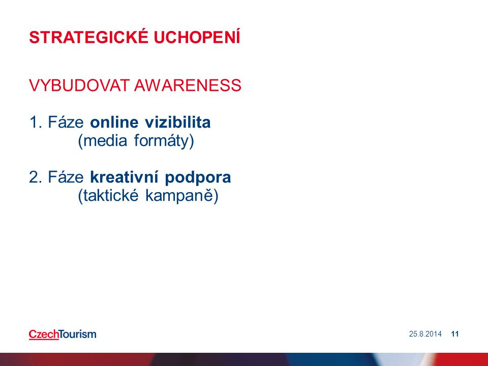 STRATEGICKÉ UCHOPENÍ VYBUDOVAT AWARENESS 1. Fáze online vizibilita (media formáty) 2. Fáze kreativní podpora (taktické kampaně) 25.8.201411