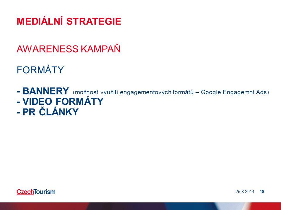 MEDIÁLNÍ STRATEGIE AWARENESS KAMPAŇ FORMÁTY - BANNERY (možnost využití engagementových formátů – Google Engagemnt Ads) - VIDEO FORMÁTY - PR ČLÁNKY 25.