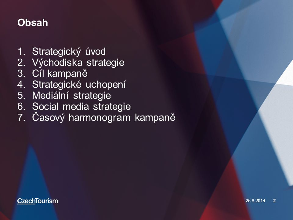 Obsah 25.8.20142 1.Strategický úvod 2.Východiska strategie 3.Cíl kampaně 4.Strategické uchopení 5.Mediální strategie 6.Social media strategie 7.Časový