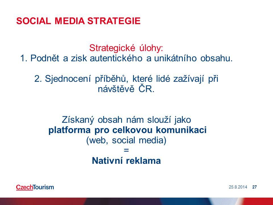 SOCIAL MEDIA STRATEGIE Strategické úlohy: 1. Podnět a zisk autentického a unikátního obsahu. 2. Sjednocení příběhů, které lidé zažívají při návštěvě Č