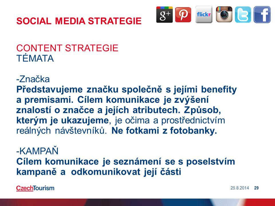 SOCIAL MEDIA STRATEGIE CONTENT STRATEGIE TÉMATA -Značka Představujeme značku společně s jejími benefity a premisami. Cílem komunikace je zvýšení znalo