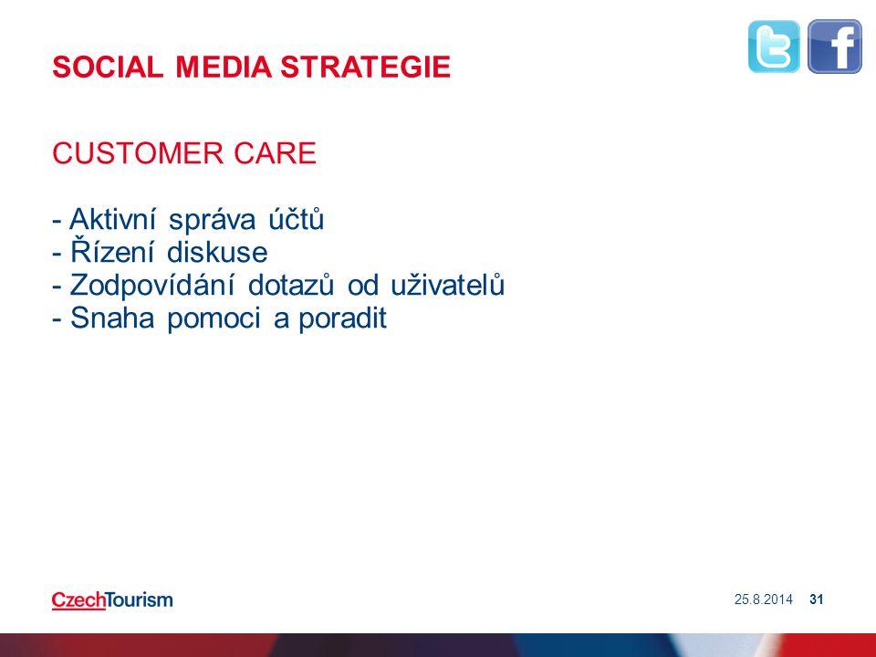 SOCIAL MEDIA STRATEGIE CUSTOMER CARE - Aktivní správa účtů - Řízení diskuse - Zodpovídání dotazů od uživatelů - Snaha pomoci a poradit 25.8.201431