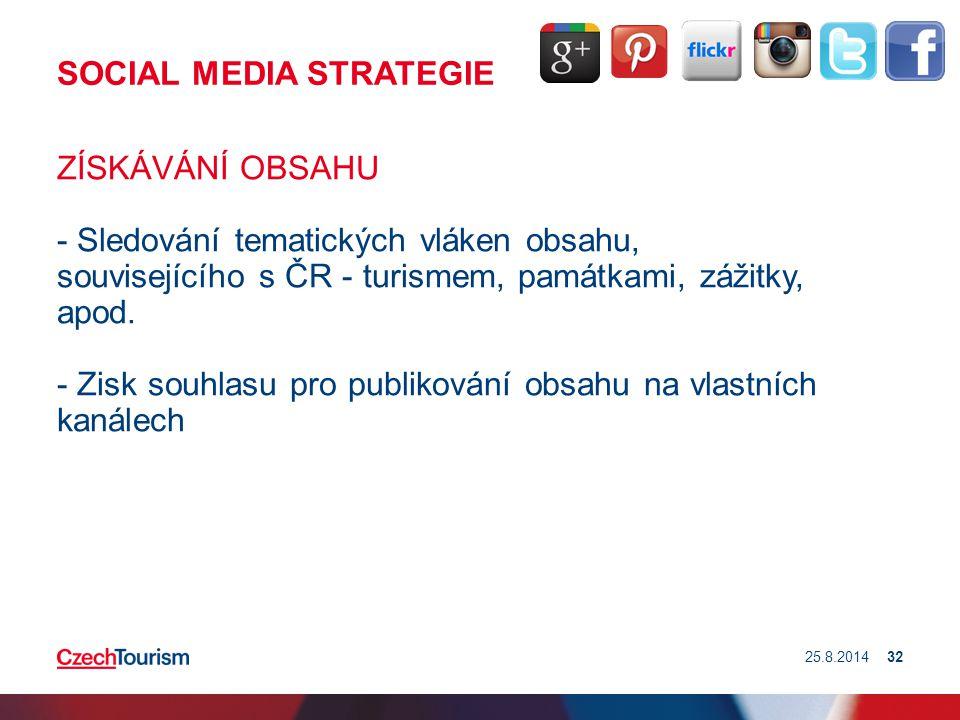 SOCIAL MEDIA STRATEGIE ZÍSKÁVÁNÍ OBSAHU - Sledování tematických vláken obsahu, souvisejícího s ČR - turismem, památkami, zážitky, apod. - Zisk souhlas