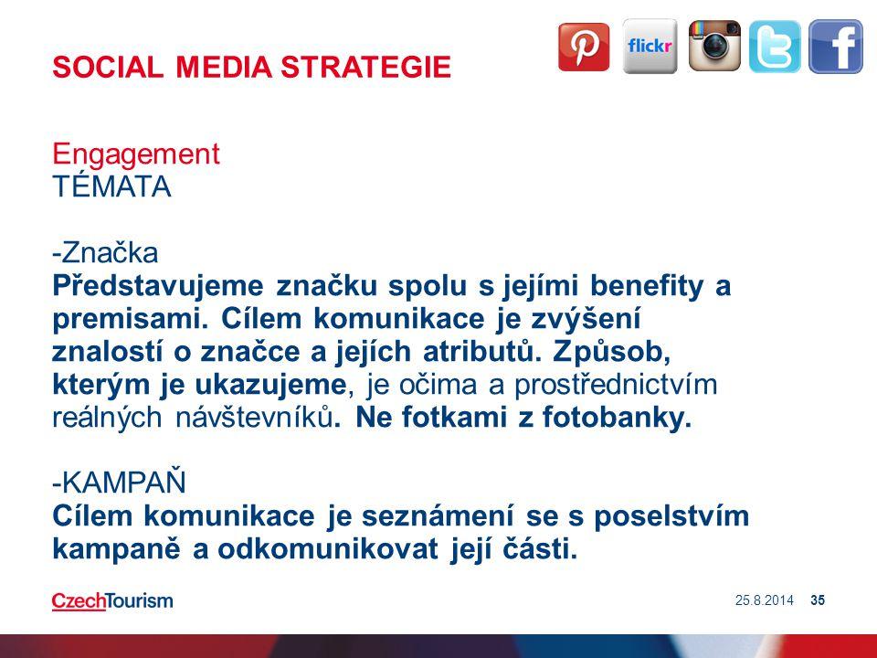 SOCIAL MEDIA STRATEGIE Engagement TÉMATA -Značka Představujeme značku spolu s jejími benefity a premisami. Cílem komunikace je zvýšení znalostí o znač