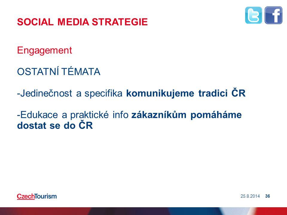 SOCIAL MEDIA STRATEGIE Engagement OSTATNÍ TÉMATA -Jedinečnost a specifika komunikujeme tradici ČR -Edukace a praktické info zákazníkům pomáháme dostat