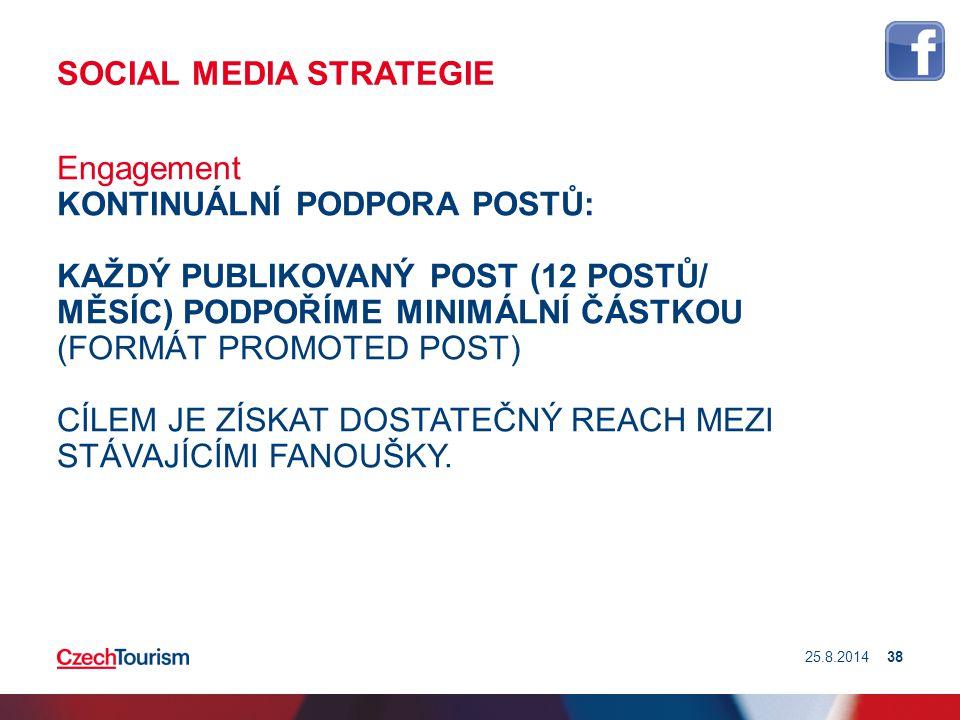 SOCIAL MEDIA STRATEGIE Engagement KONTINUÁLNÍ PODPORA POSTŮ: KAŽDÝ PUBLIKOVANÝ POST (12 POSTŮ/ MĚSÍC) PODPOŘÍME MINIMÁLNÍ ČÁSTKOU (FORMÁT PROMOTED POS