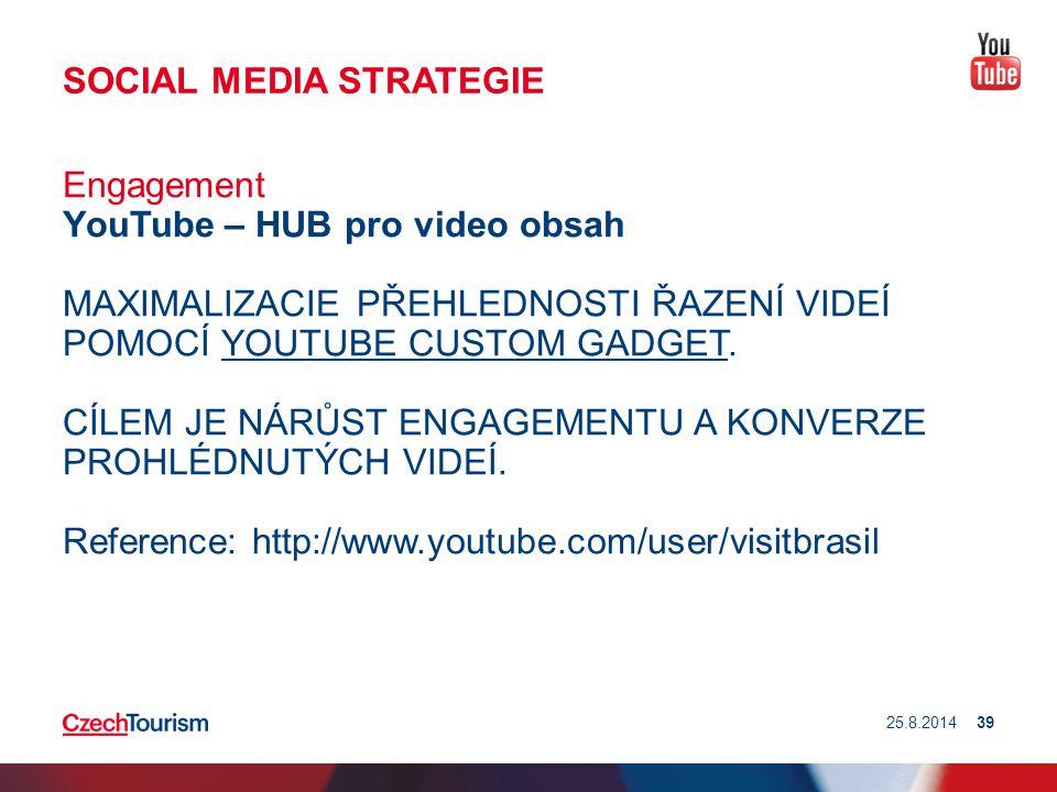 SOCIAL MEDIA STRATEGIE Engagement YouTube – HUB pro video obsah MAXIMALIZACIE PŘEHLEDNOSTI ŘAZENÍ VIDEÍ POMOCÍ YOUTUBE CUSTOM GADGET. CÍLEM JE NÁRŮST