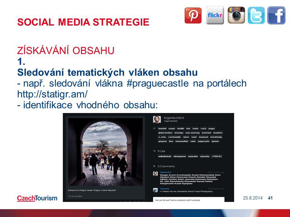 SOCIAL MEDIA STRATEGIE ZÍSKÁVÁNÍ OBSAHU 1. Sledování tematických vláken obsahu - např. sledování vlákna #praguecastle na portálech http://statigr.am/