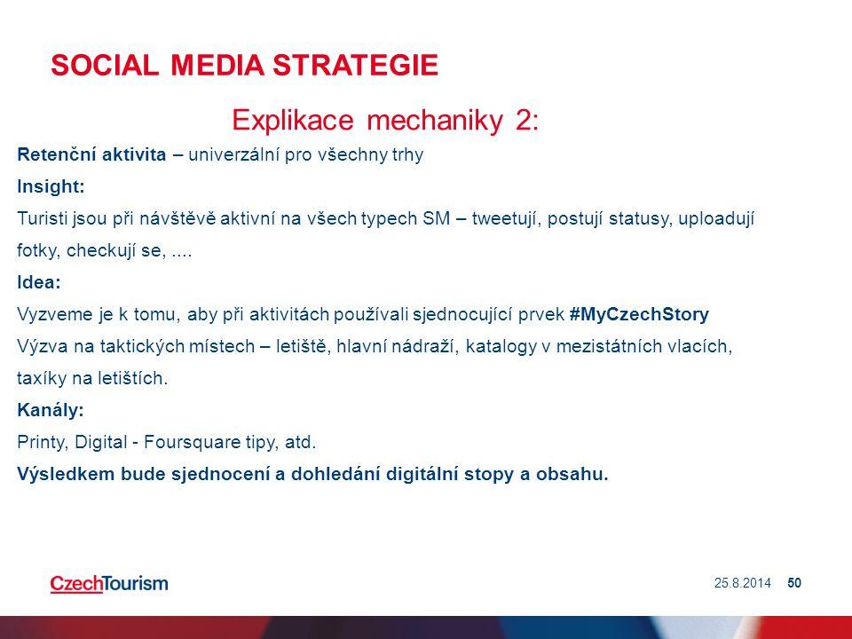 SOCIAL MEDIA STRATEGIE Explikace mechaniky 2: Retenční aktivita – univerzální pro všechny trhy Insight: Turisti jsou při návštěvě aktivní na všech typ