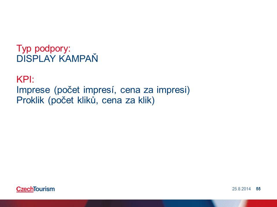 Typ podpory: DISPLAY KAMPAŇ KPI: Imprese (počet impresí, cena za impresi) Proklik (počet kliků, cena za klik) 25.8.201455