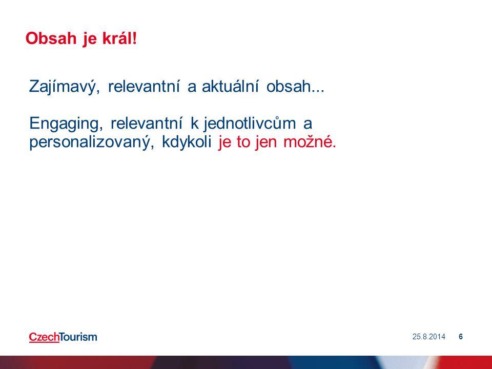 25.8.201447 Vybudování a zvýšení znalostí o ČR Tvorba a optimalizace obsahu.