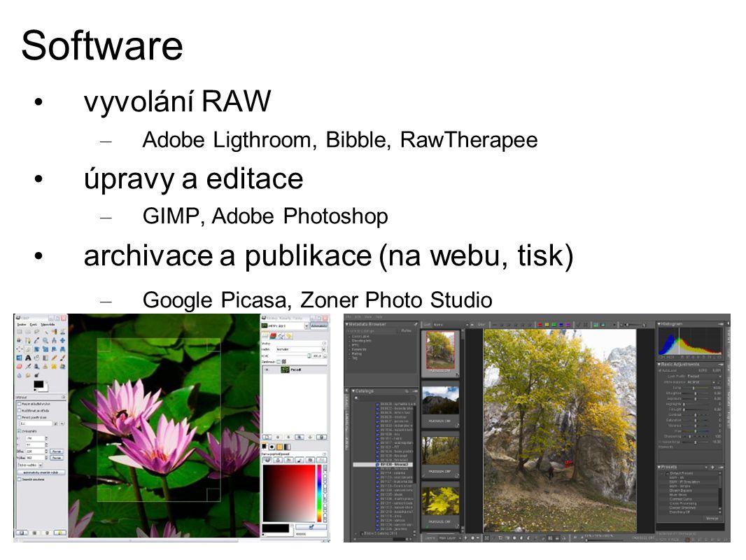 Software vyvolání RAW – Adobe Ligthroom, Bibble, RawTherapee úpravy a editace – GIMP, Adobe Photoshop archivace a publikace (na webu, tisk) – Google Picasa, Zoner Photo Studio