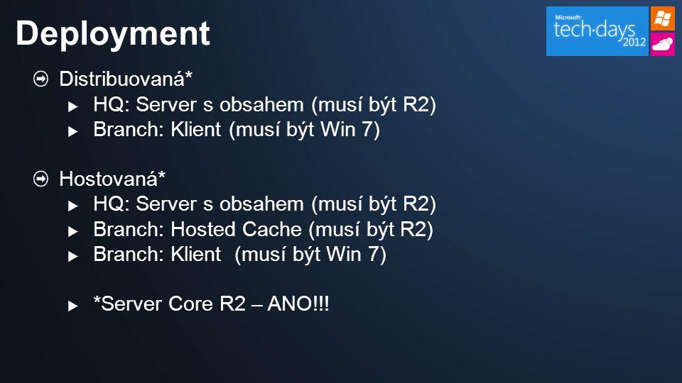 Distribuovaná*  HQ: Server s obsahem (musí být R2)  Branch: Klient (musí být Win 7) Hostovaná*  HQ: Server s obsahem (musí být R2)  Branch: Hosted Cache (musí být R2)  Branch: Klient (musí být Win 7)  *Server Core R2 – ANO!!.