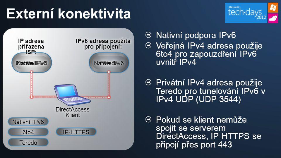 Nativní podpora IPv6 Veřejná IPv4 adresa použije 6to4 pro zapouzdření IPv6 uvnitř IPv4 Privátní IPv4 adresa použije Teredo pro tunelování IPv6 v IPv4 UDP (UDP 3544) Pokud se klient nemůže spojit se serverem DirectAccess, IP-HTTPS se připojí přes port 443 Externí konektivita IP adresa přiřazena ISP: Public IPv4 DirectAccess Klient IPv6 adresa použitá pro připojení: 6to4 Private IPv4 Native IPv6 Teredo Nativní IPv6 6to4 Teredo IP-HTTPS