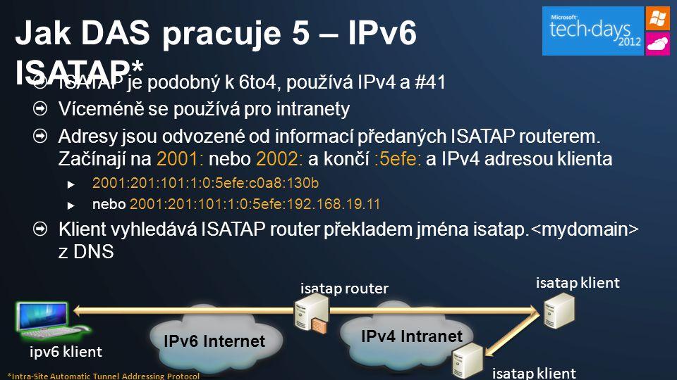 ISATAP je podobný k 6to4, používá IPv4 a #41 Víceméně se používá pro intranety Adresy jsou odvozené od informací předaných ISATAP routerem.