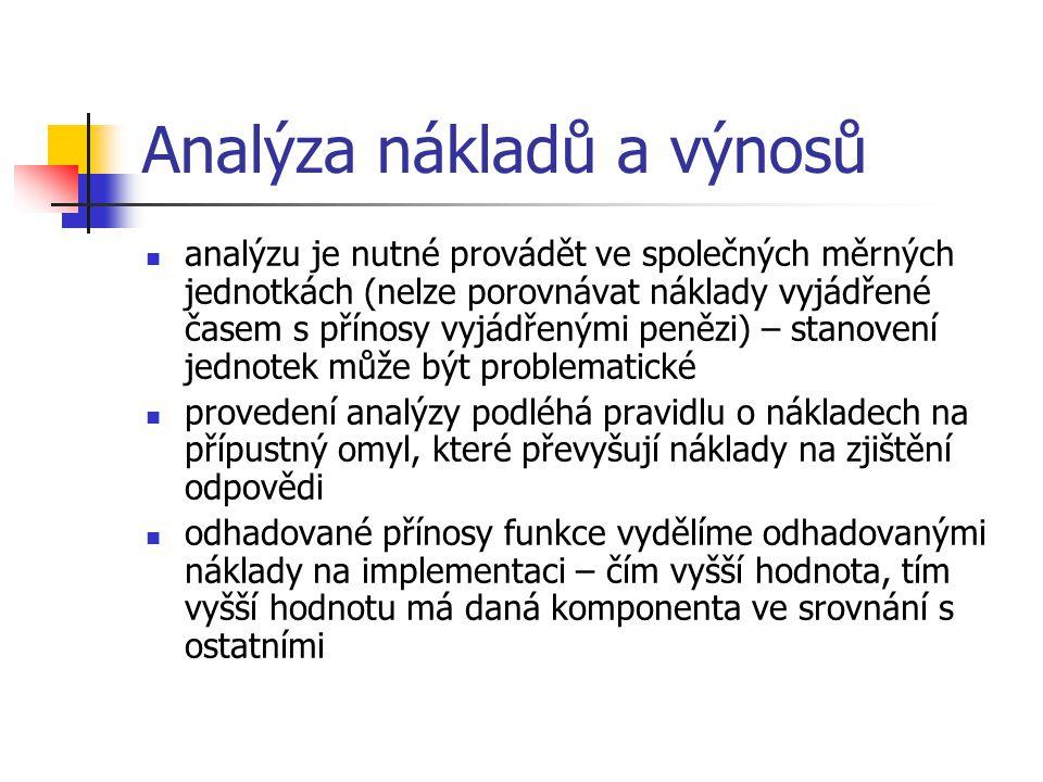 Analýza nákladů a výnosů analýzu je nutné provádět ve společných měrných jednotkách (nelze porovnávat náklady vyjádřené časem s přínosy vyjádřenými penězi) – stanovení jednotek může být problematické provedení analýzy podléhá pravidlu o nákladech na přípustný omyl, které převyšují náklady na zjištění odpovědi odhadované přínosy funkce vydělíme odhadovanými náklady na implementaci – čím vyšší hodnota, tím vyšší hodnotu má daná komponenta ve srovnání s ostatními