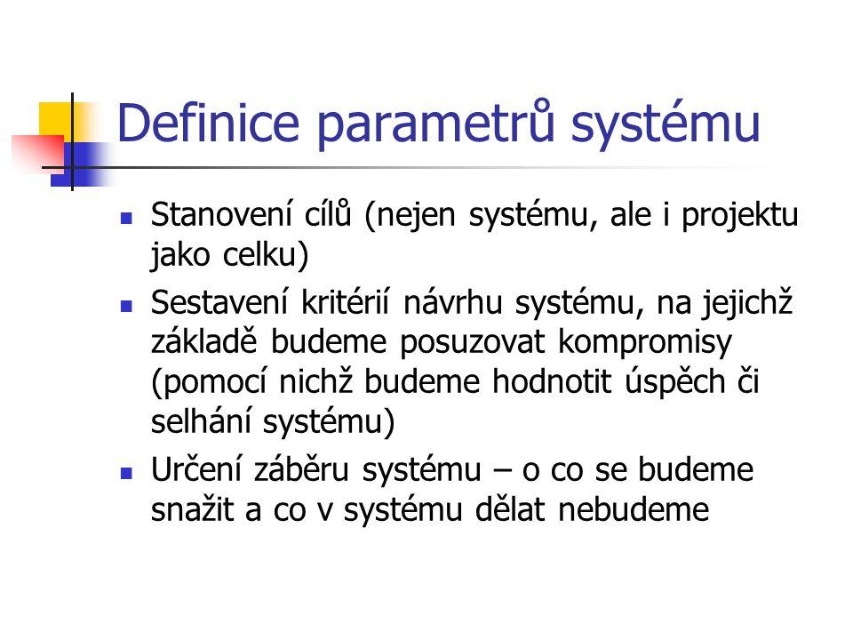 Definice parametrů systému Stanovení cílů (nejen systému, ale i projektu jako celku) Sestavení kritérií návrhu systému, na jejichž základě budeme posuzovat kompromisy (pomocí nichž budeme hodnotit úspěch či selhání systému) Určení záběru systému – o co se budeme snažit a co v systému dělat nebudeme