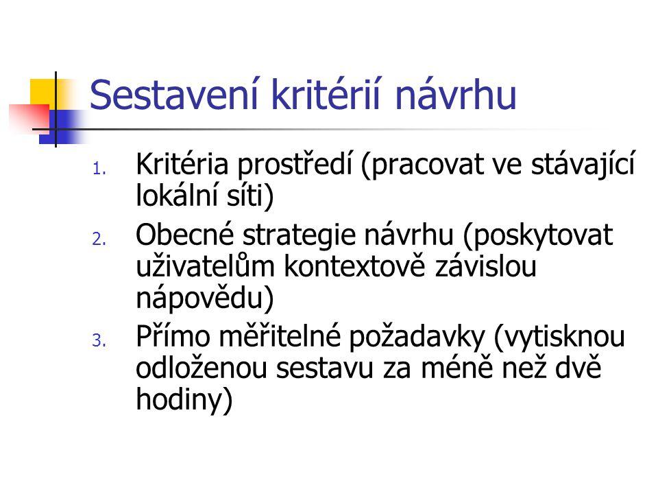Sestavení kritérií návrhu 1. Kritéria prostředí (pracovat ve stávající lokální síti) 2.