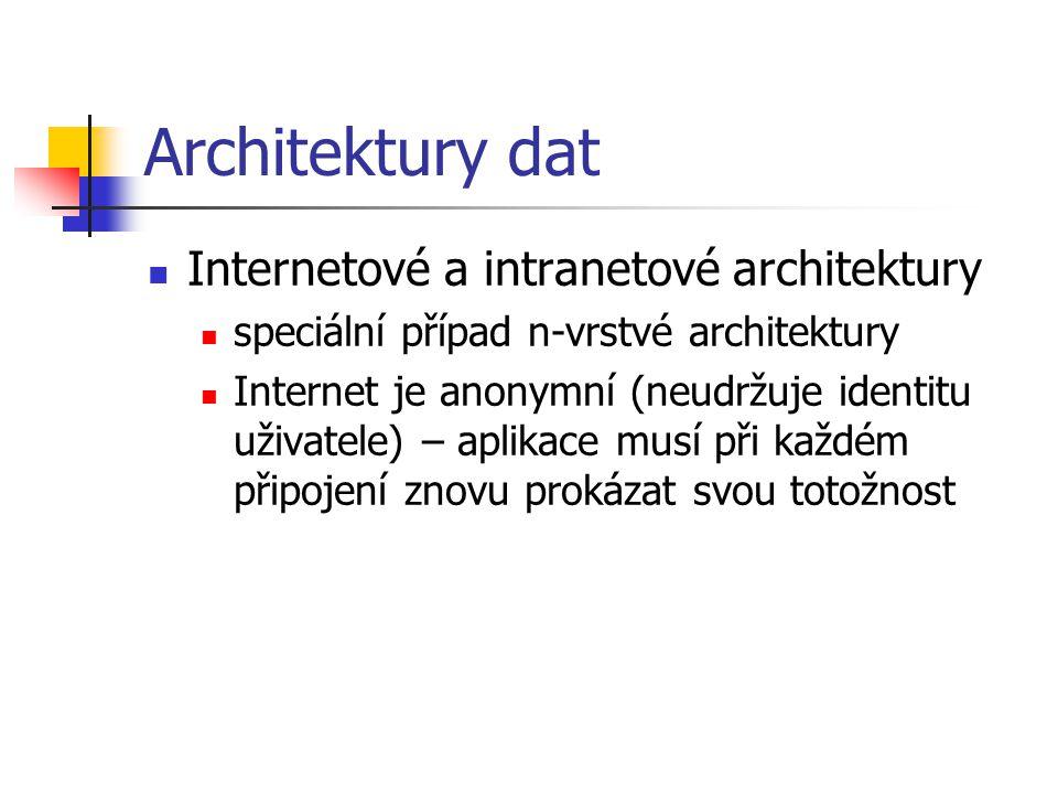Architektury dat Internetové a intranetové architektury speciální případ n-vrstvé architektury Internet je anonymní (neudržuje identitu uživatele) – aplikace musí při každém připojení znovu prokázat svou totožnost