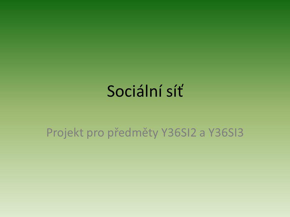 Sociální síť Projekt pro předměty Y36SI2 a Y36SI3