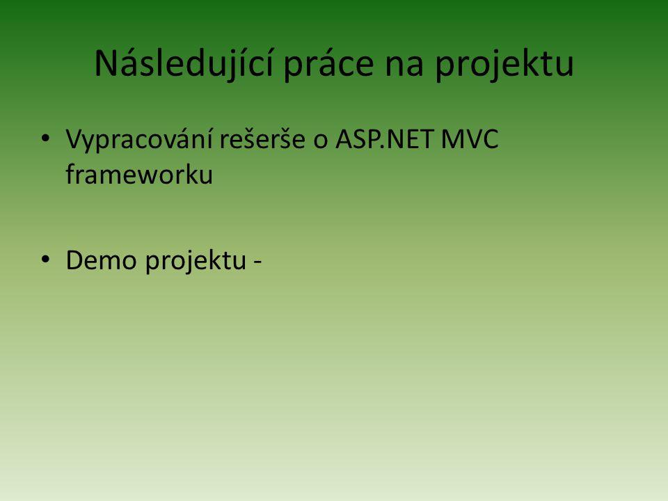 Následující práce na projektu Vypracování rešerše o ASP.NET MVC frameworku Demo projektu -